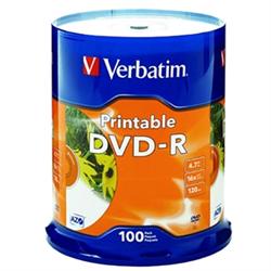 DVD-R 100PK SPINDLE - WHITE INKJET PRINTABLE - 4.7GB 16X
