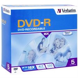 DVD-R 5PK JEWEL CASE - 4.7GB 16X