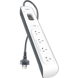 BELKIN 4 OUTLET SURGE PROTECTOR WITH 2M CORD- 2YR WTY- $20K CEW