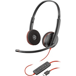 PLANTRONICS BLACKWIRE C3220 UC STEREO USB-A CORDED HEADSET  - SINGLE UNIT SOFT PACKAGE