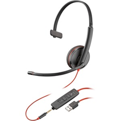 PLANTRONICS BLACKWIRE C3215 UC MONO USB-A & 3.5MM CORDED HEADSET SINGLE SOFT PACKAGING
