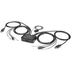 STARTECH.COM 2 PORT DISPLAYPORT KVM SWITCH- USB- AUDIO- REMOTE- 1.5M INTEGRATED CABLE- 2YR