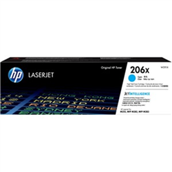 HP 206X CYAN TONER - HIGH YIELD - APPROX 2.45K PAGES - FOR M283- M255 PRINTERS