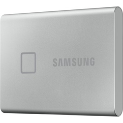 SAMSUNG T7 TOUCH 500GB PORTABLE USB-C SSD- UP TO 1050MBS R/W- SILVER- USB-C- 3YR WTY