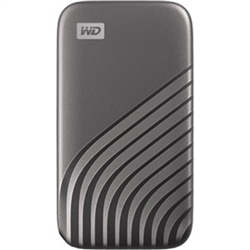 WD MY PASSPORT SSD 1TB GRAY COLOR USB 3.2 GEN-2 TYPE C TYPE A COMPATIBLE 1050MB/S READ AND 1000MB/S WRITE PASSWORD ENABLED 256-BIT AES HARDWARE ENCRYPTION PC MAC COMPATIBLE 5 YEAR WARRANTY