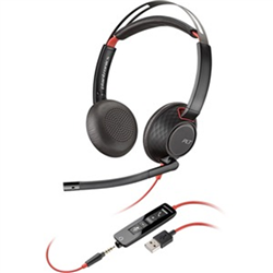 PLANTRONICS BLACKWIRE C5220 UC STEREO USB-A & 3.5MM CORDED HEADSET - PROMO ENDS 26 JUN 21