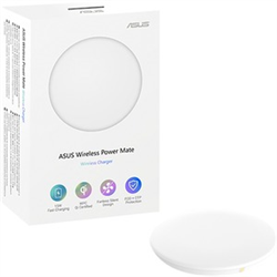 ASUS POWER MATE WHITE - WIRELESS CHARGING PAD QI CERTIFIED 15W FAST WIRELESS CHARGING FANLESS COOLING SYSTEM BUILT TO LAST SMART PROTECTION SYSTEMS