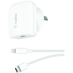 BELKIN 1 PORT WALL CHARGER- 20W USB-C (1) PD- USB-C TO LIGHTNING CABLE INCLUDED- WHITE- 2Y