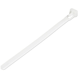 15CM(6IN) REUSABLE CABLE TIES - 7MM(1/4IN) WIDE 35MM(1-3/8IN) BUNDLE DIA. 22KG(50LB) TENSILE STRENGTH RELEASABLE NYLON TIES INDOOR/OUTDOOR 94V-2/UL LISTED 100 PACK - WHITE (CBMZTRB6)