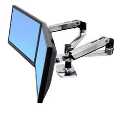 LX DUAL SIDE BY SIDE ARM DESK MOUNT POLISHEDALUMINIUM