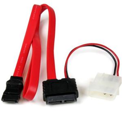 20IN SLIMLINE SATA TO SATA WITH LP4 POWER CABLE ADAPTER - SLIM SATA ADAPTER - SLIMLINE ADAPTER - SLIM SATA TO SATA