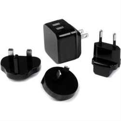 STARTECH.COM DUAL PORT USB WALL CHARGER 17W/3.4A   TRAVEL CHARGER 110V/220V 2 YR