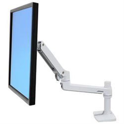 LX DESK MOUNT LCD ARM NO GROMMET MOUNT BRIGHT WHITE TEXTURE