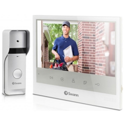 7 COLOR DISPLAY WITH DAY & NIGHT VISION DOORBELL CAMERA / SEE YOUR VISITORS AT NIGHT WITH INFRARED NIGHT VISION / PUSH BUTTON TO SPEAK TO & HEAR YOUR VISITORS / ADD UP TO 2 COMPATIBLE SWANN SECURITY