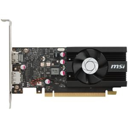MSI GT 1030 2G LP OC NVIDIA PCI-E GRAPHIC CARD - 64 BIT BUS WIDTH - FAN COOLER - DIRECTX 12 OPENGL 4.5 - 1 X DISPLAYPORT - 1 X HDMI - PC - 2 X MONITORS SUPPORTED