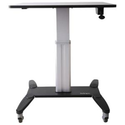 SIT STAND MOBILE WORKSTATION - ROLLING DESK - ONE-TOUCH HEIGHT ADJUSTMENT WITH LOCK - STANDING DESK CONVERTER - MOBILE DESK