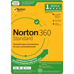 NORTON 360 STANDARD 10GB AU 1U 1D 12MONTH ATTACH ENR DVDSLV. NOTE: CREDIT CARD OR PAYPAL ACCOUNT REQUIRED FOR ACTIVATION AND USE.