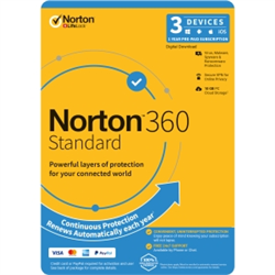 NORTON 360 STANDARD 10GB AU 1U 3D 12MONTH ENR DVDSLV. NOTE: CREDIT CARD OR PAYPAL ACCOUNT REQUIRED FOR ACTIVATION AND USE.