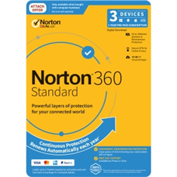 NORTON 360 STANDARD 10GB AU 1U 3D 12MONTH ATTACH ENR DVDSLV. NOTE: CREDIT CARD OR PAYPAL ACCOUNT REQUIRED FOR ACTIVATION AND USE.