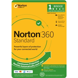NORTON 360 STANDARD 10GB AU 1U 1D 12MONTH ENR DVDSLV. NOTE: CREDIT CARD OR PAYPAL ACCOUNT REQUIRED FOR ACTIVATION AND USE.