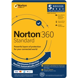 NORTON 360 STANDARD 10GB AU 1U 5D 12MONTH ENR DVDSLV. NOTE: CREDIT CARD OR PAYPAL ACCOUNT REQUIRED FOR ACTIVATION AND USE.