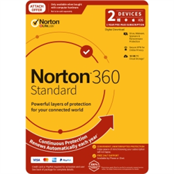 NORTON 360 STANDARD 10GB AU 1U 2D 12MONTH ATTACH ENR DVDSLV. NOTE: CREDIT CARD OR PAYPAL ACCOUNT REQUIRED FOR ACTIVATION AND USE.