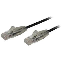 2 M CAT6 CABLE - SLIM CAT6 PATCH CORD - BLACK - SNAGLESS RJ45 CONNECTORS - GIGABIT ETHERNET CABLE - 28 AWG (N6PAT200CMBKS)
