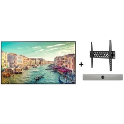 SAMSUNG QM65R 65IN UHD COMMERCIAL DISPLAY X CISCO ROOMKIT MINI WITH INTEGRATED SPEAKERS X ATDEC FIXED ANGLE WALL MOUNT