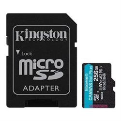 256GB MSDXC CANVAS GO PLUS 170R A2 U3 V30 CARD + ADAPTER