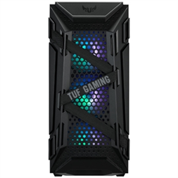 ASUS TUF GAMING GT301 ATX MID-TOWER COMPACT CASE WITH TEMPERED GLASS SIDE PANEL HONEYCOMB FRONT PANEL 120MM AURA ADDRESSABLE RGB FAN HEADPHONE HANGER AND 360MM RADIATOR SUPPORT.