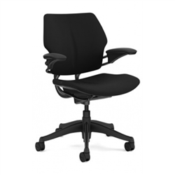 HUMANSCALE FREEDOM TASK CHAIR- ADJUSTABLE DURON ARMS- OXYGEN FABRIC IN INHALE (BLACK)- GRAPHITE BASE