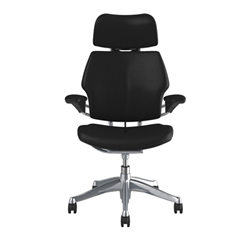HUMANSCALE FREEDOM CHAIR WITH HEADREST- STANDARD GEL ARMS WITH TEXTILE- TICINO LEATHER IN BLACK- ALUMINIUM POLISHED BASE