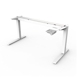 HUMANSCALE FLOAT BASE ONLY (NO TOP) WITH MOUNTED COUNTERBALANCE CRANK IN WHITE- SUITABLE FOR TABLE TOPS 1200-1400M WIDE AND 600MM DEEP
