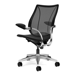 HUMANSCALE LIBERTY TASK CHAIR- ADJUSTABLE DURON ARMS- MONOFILAMENT MESH BACK IN BLACK- OXYGEN FABRIC SEAT IN INHALE (BLACK)- POLISHED ALU/BLACK BASE
