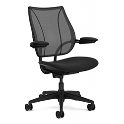 HUMANSCALE LIBERTY TASK CHAIR- ADJUSTABLE DURON ARMS- MONOFILAMENT MESH BACK IN BLACK- OXYGEN FABRIC SEAT IN INHALE (BLACK)- BLACK BASE