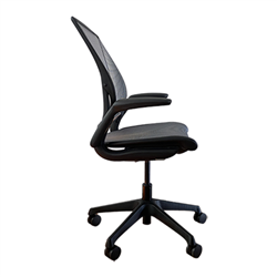 HUMANSCALE WORLD ONE CHAIR- ADJUSTABLE DURON ARMS- BLACK WITH BLACK TRIM BASE- PINSTRIPE BLACK MESH