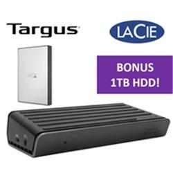 TARGUS DOCK180AUZ- USB-C 4K BUNDLED WITH STHY1000800  - LACIE PORTABLE 2.5