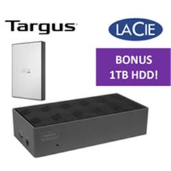 TARGUS DOCK190AUZ- USB-C 4K BUNDLED WITH STHY1000800  - LACIE PORTABLE 2.5