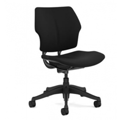 HUMANSCALE FREEDOM TASK CHAIR- ARMLESS- OXYGEN FABRIC IN INHALE (BLACK)- GRAPHITE BASE