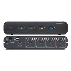 BELKIN 4-PORT SECURE 2 HEAD DP/HDMI UNIVERSAL KVM SWITCH WITH CAC- 3YR WTY