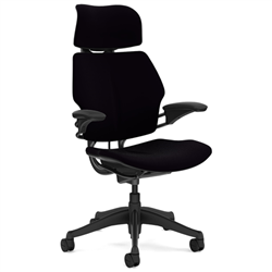 HUMANSCALE CHAIR FREEDOM HR ARMS GRAP/VEL BLK