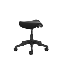 HUMANSCALE FREEDOM PONY STOOL- LOTUS SEAT PAD IN BLACK WITH A BLACK BASE