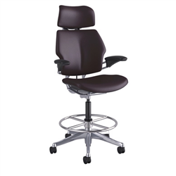 HUMANSCALE CHAIR FREEDOM ARMS HR T/STD MOCHA BLK