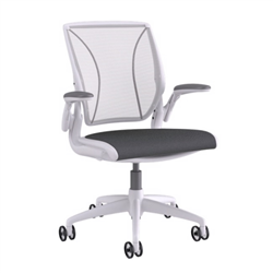 HUMANSCALE CHAIR WORLD ADJ ARMS MESH OXYGEN WHI