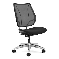 HUMANSCALE CHAIR LIBERTY ARMLESS MESH OXYG ALU/BLK