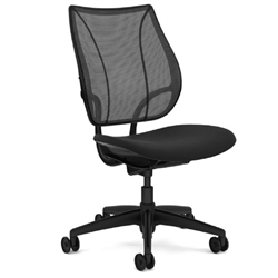 HUMANSCALE LIBERTY TASK CHAIR- ARMLESS- MONOFILAMENT MESH BACK IN BLACK- OXYGEN FABRIC SEAT IN INHALE (BLACK)- BLACK BASE