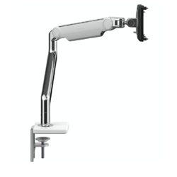 HUMANSCALE M2.1 SINGLE MONITOR ARM- ANGLED/DYNAMIC ARM LINK- CLAMP MOUNT IN POLISHED ALUMINIUM WITH WHITE TRIM - 1 PACK - (CAPACITY: UP TO 7KG TOTAL)