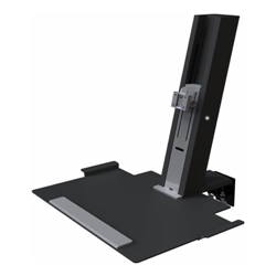 HUMANSCALE QUICKSTAND SIT/STAND WORKSTATION FOR A SINGLE MONITOR- LARGE WORK PLATFORM- CLAMP MOUNT- NO PRE-INSTALLED CABLES- IN BLACK
