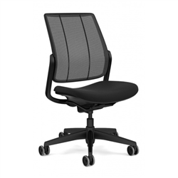 HUMANSCALE SMART TASK CHAIR- ARMLESS- MONOFILAMENT MESH BACK IN BLACK- OXYGEN FABRIC SEAT IN INHALE (BLACK)- BLACK BASE