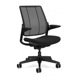 HUMANSCALE SMART TASK CHAIR- ADJUSTABLE DURON ARMS- MONOFILAMENT MESH BACK IN BLACK- OXYGEN FABRIC SEAT IN INHALE (BLACK)- BLACK BASE